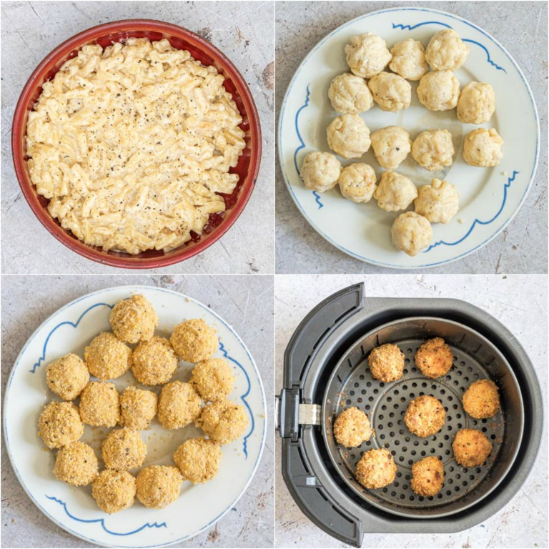 image collage showing the steps for making air fryer mac and cheese balls