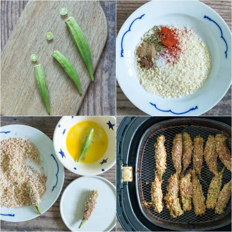image collage showing the steps for making air fryer okra