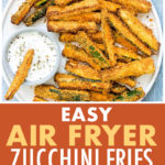 Pinterest pin that links to recipe for air fryer zucchini fries