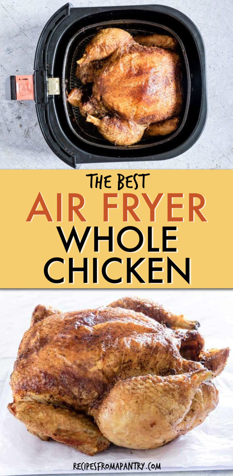 A COLLAGE OF TWO PICTURES OF A WHOLE CHICKEN IN AN AIR FRYER AND ON A PLATE.