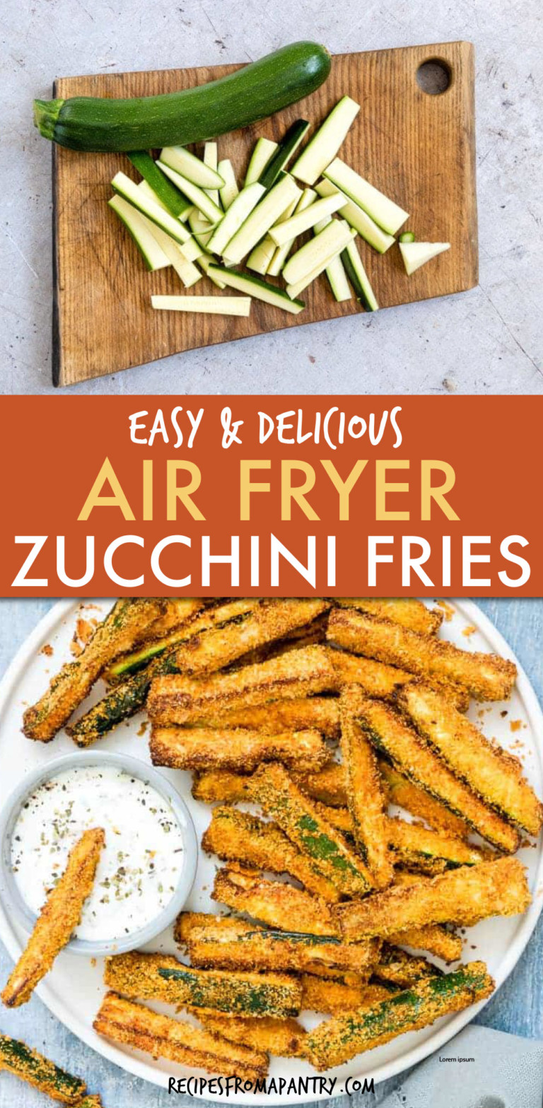 two pics of chopped zucchini and zucchini fries on a plate