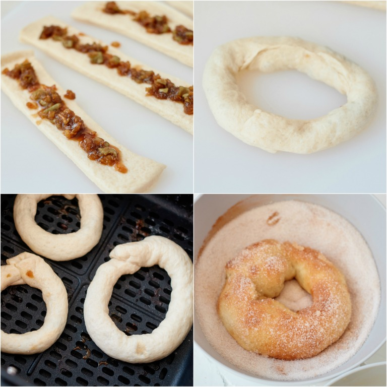 image collage showing the steps for making air fryer caramel apple donuts