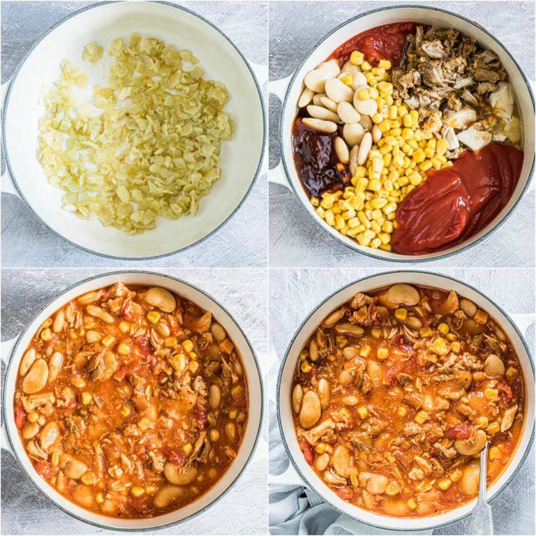image collage showing the steps for making this easy brunswick stew recipe
