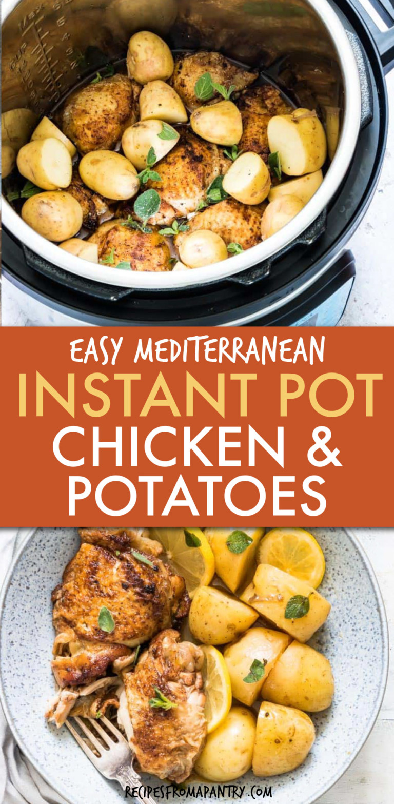 TWO PICTURES OF CHICKEN AND POTATOES IN AN INSTANT POT AND IN A BOWL