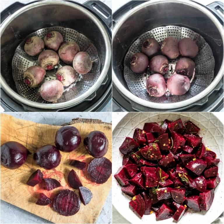 image collage showing the steps for making instant pot beets salad