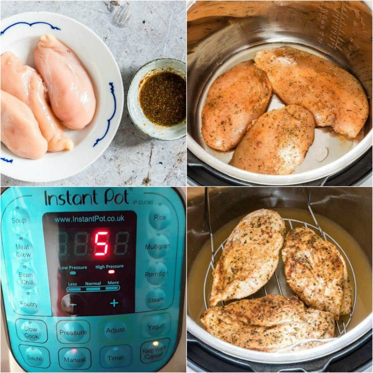 image collage showing the steps for making instant pot chicken breast