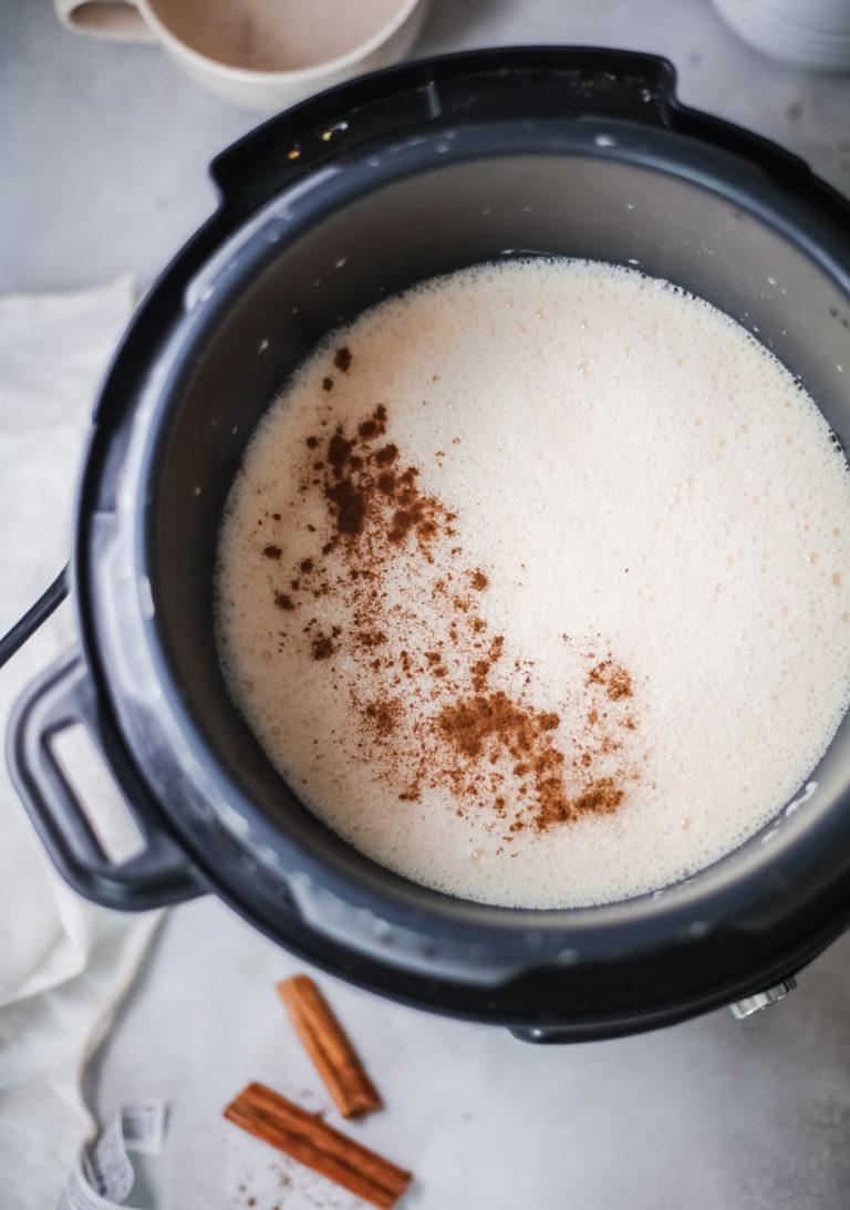 top down view of instant pot eggnog inside the instant pot