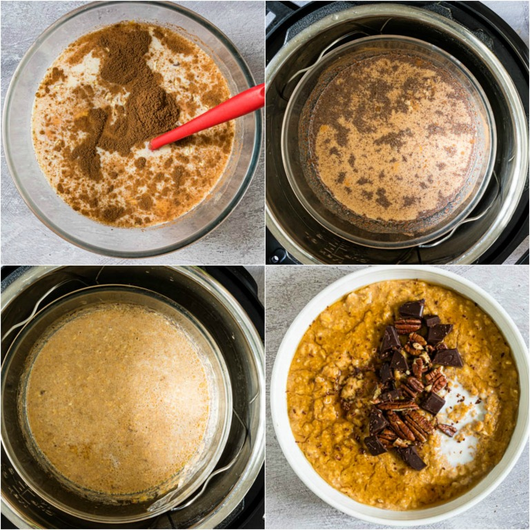 image collage showing the steps for making instant pot pumpkin oatmeal