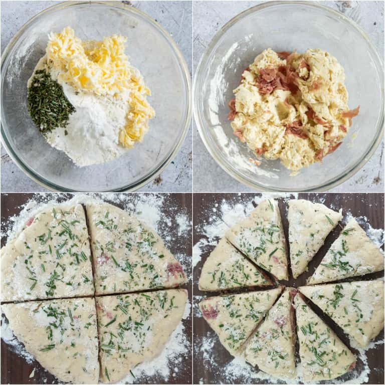 image collage showing the steps for making ham and cheese scones