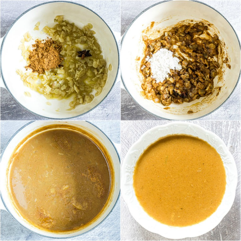 image collage showing the steps for making the curry sauce for the SPAM Fritters Katsu Curry recipe
