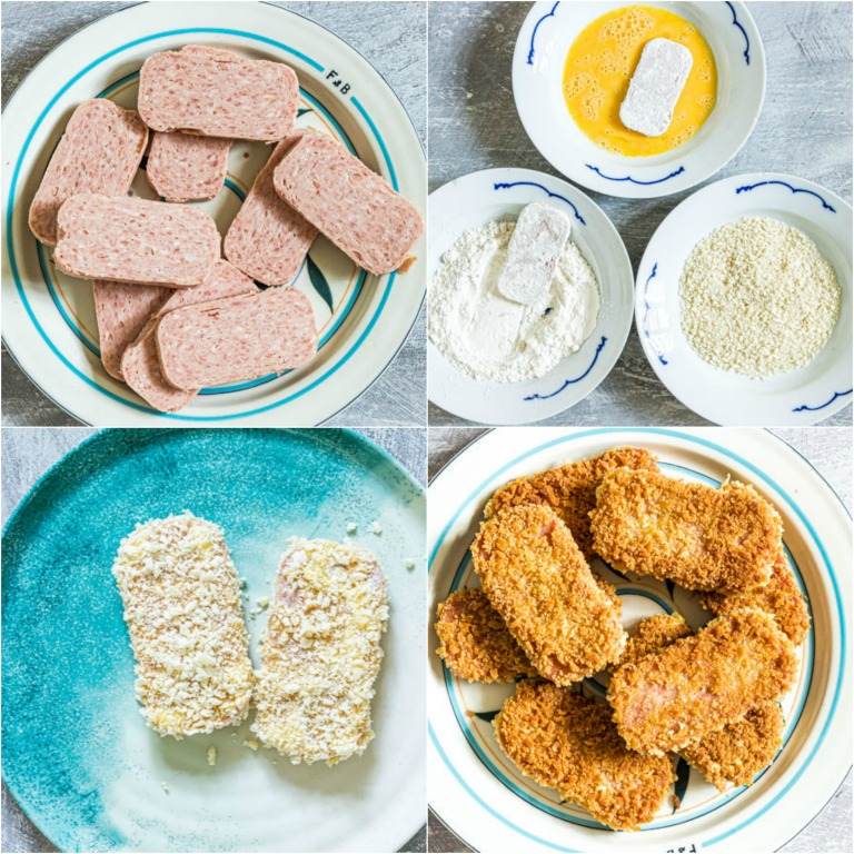 image collage showing the steps for making the SPAM Fritters for the SPAM Fritters Katsu Curry recipe