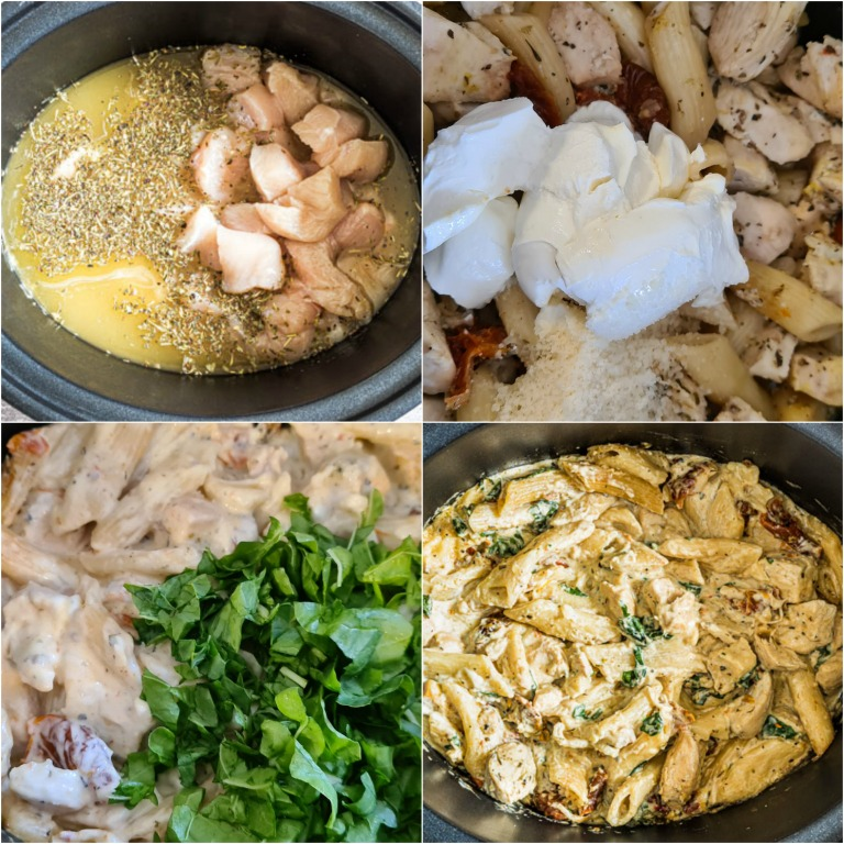image collage showing the steps for making this slow cooker pasta recipe