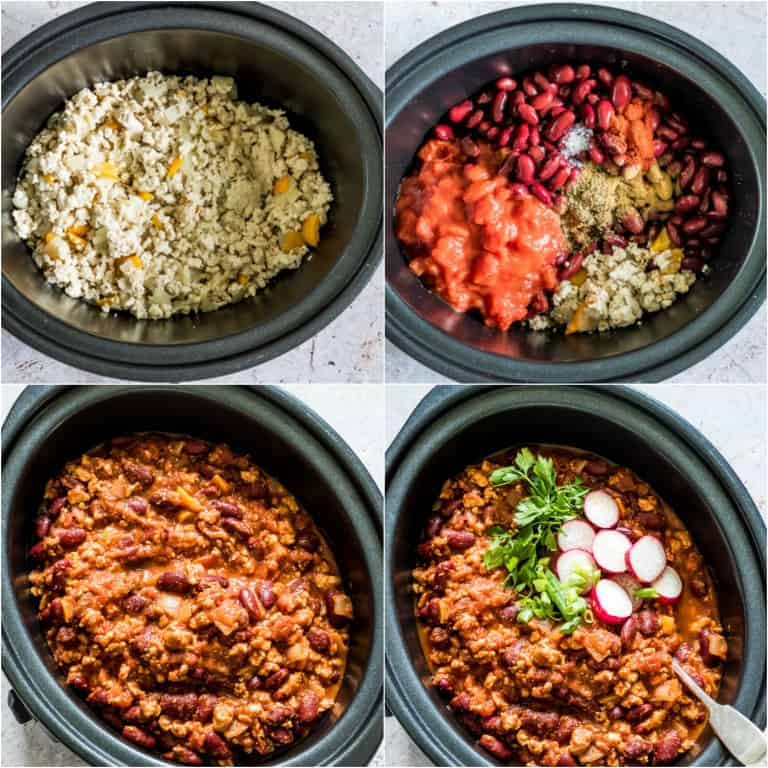 image collage showing the steps for making slow cooker turkey chili