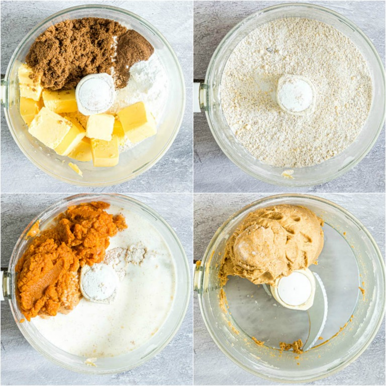 image collage showing the first steps for making savory biscuits