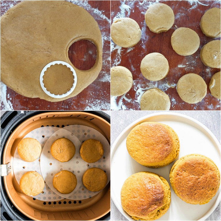 image collage showing the last few steps for making air fryer biscuits