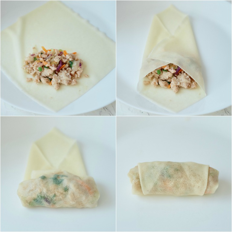 image collage showing the steps for wrapping air fryer egg rolls