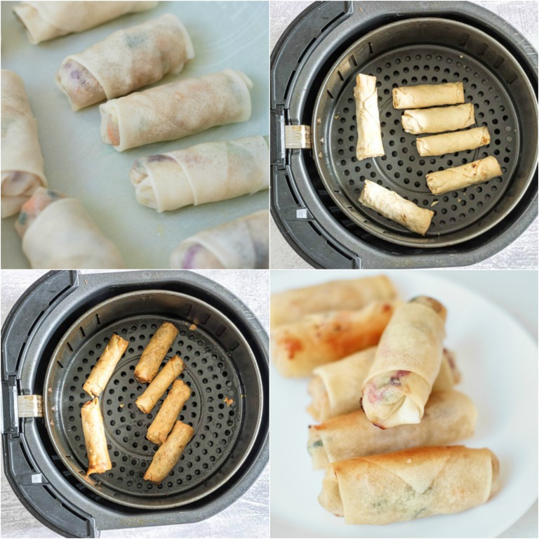 image collage showing the steps for cooking air fryer egg rolls