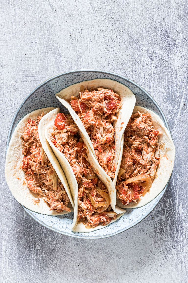 the completed crockpot chicken fajitas recipe