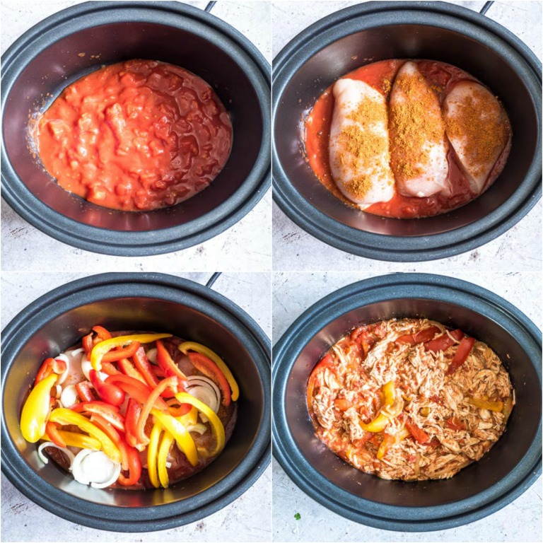 image collage showing the steps for making crockpot chicken fajitas