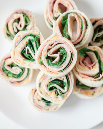 top down view of the completed ham roll ups