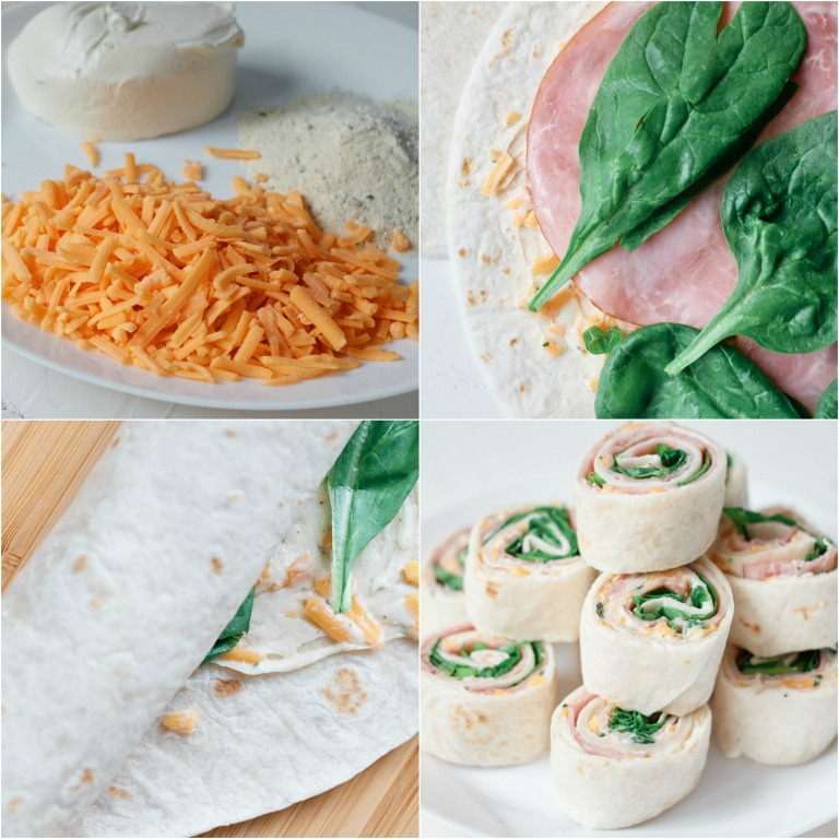 image collage showing the steps for making ham roll ups