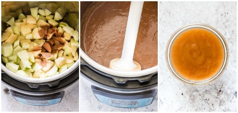 three instant pot applesauce in progress photos including final applesauce