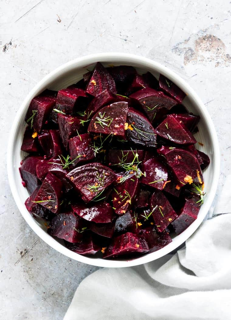 cooking beets in instant pot and making beet salad