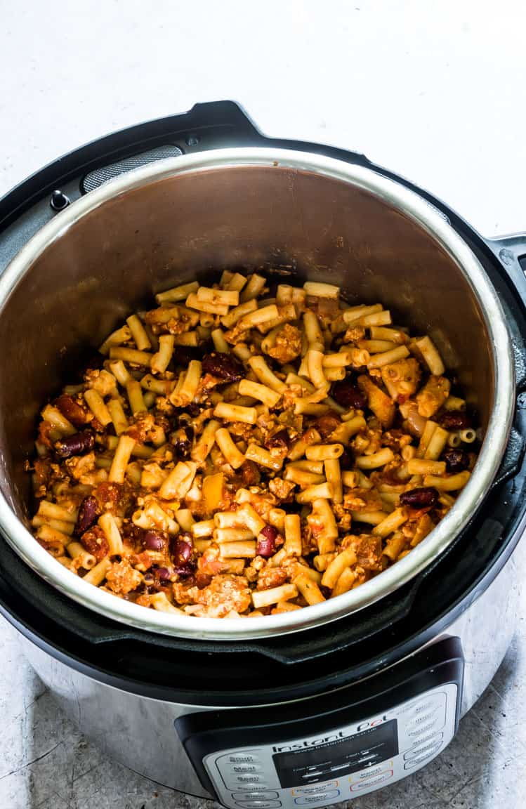 finished chili mac recipe inside the instant pot