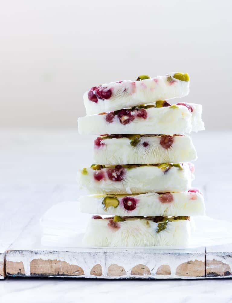 frozen yogurt bark on a table