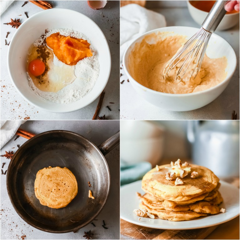image collage showing the steps for making pumpkin pancakes