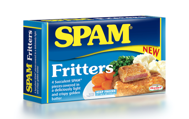 a package of ready made frozen SPAM® fritters