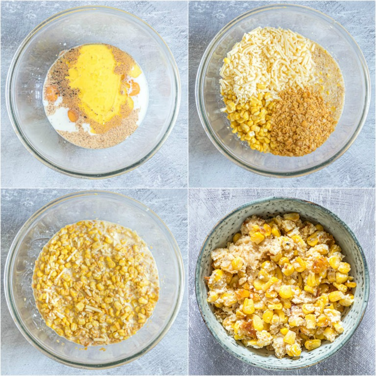 image collage showing the steps for making scalloped corn