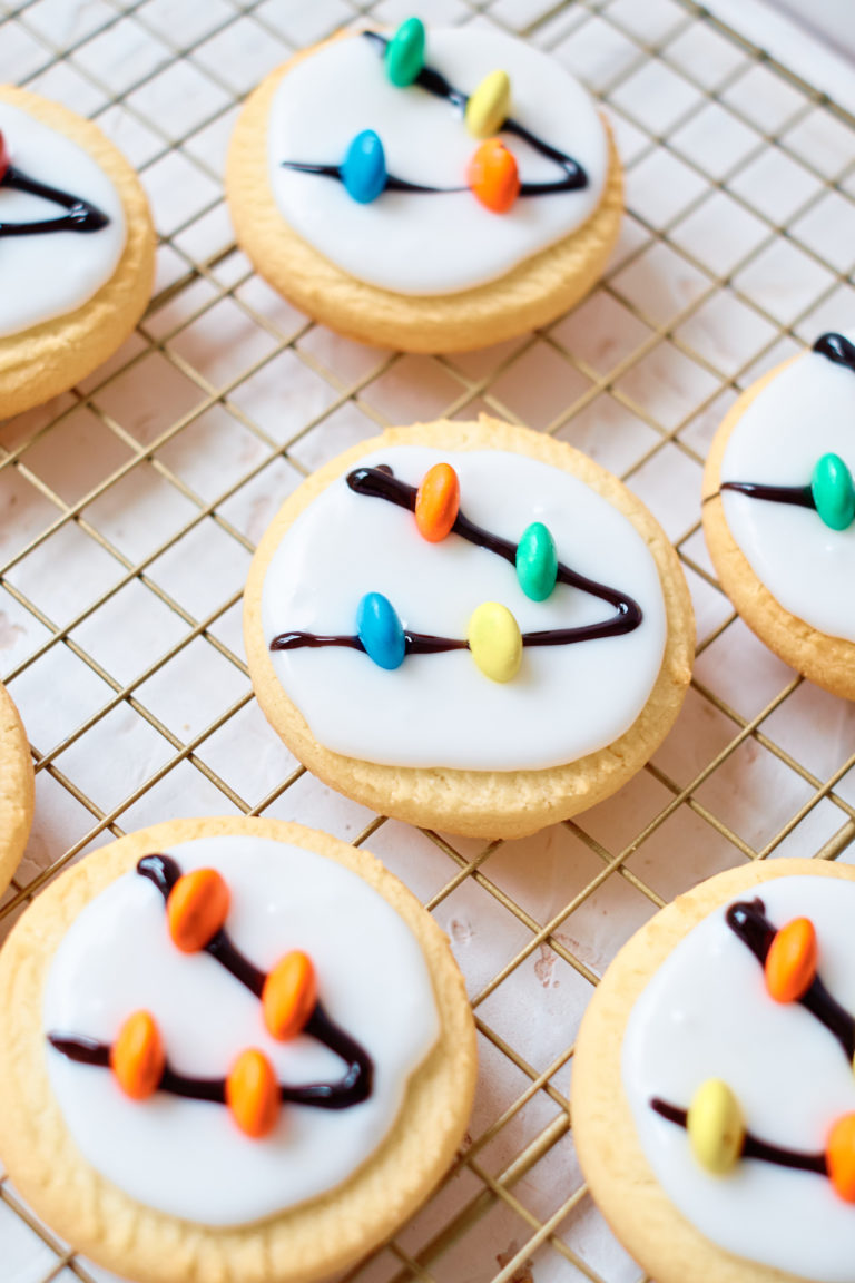 top down view of the decorated cookies on a cooling rack