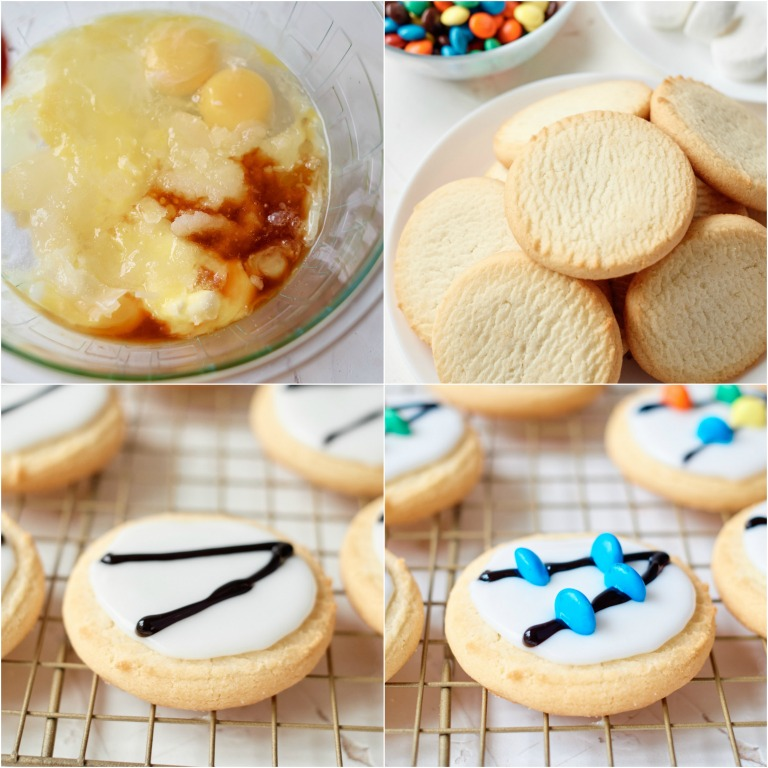 image collage showing the steps for making these decorated Christmas cookies