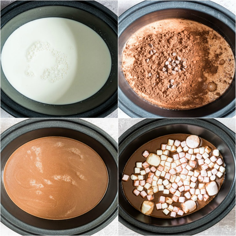 image collage showing the steps for making crockpot hot chocolate