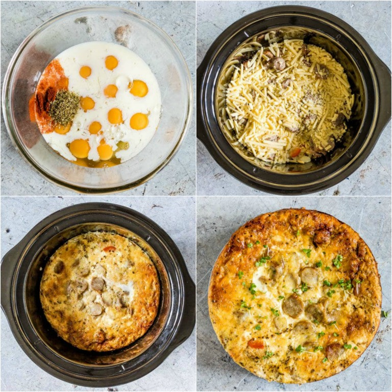 image collage showing the steps for making crockpot breakfast casserole