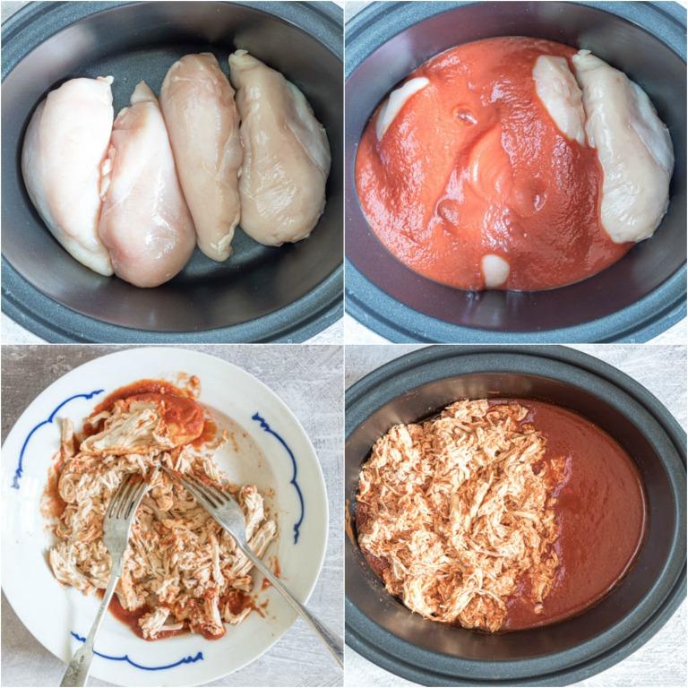 the first four steps for making crockpot chicken enchiladas casserole