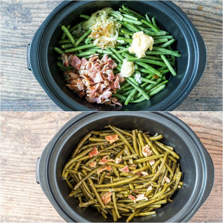 image collage showing the steps for making crockpot green beans