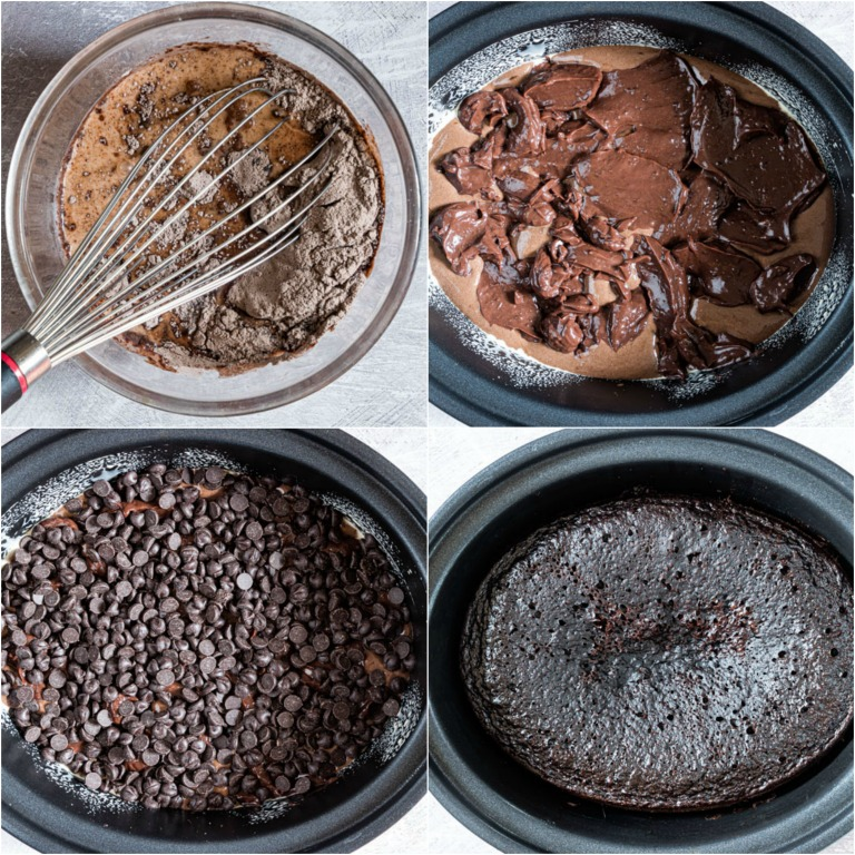 image collage showing the steps for making crockpot chocolate lava cake