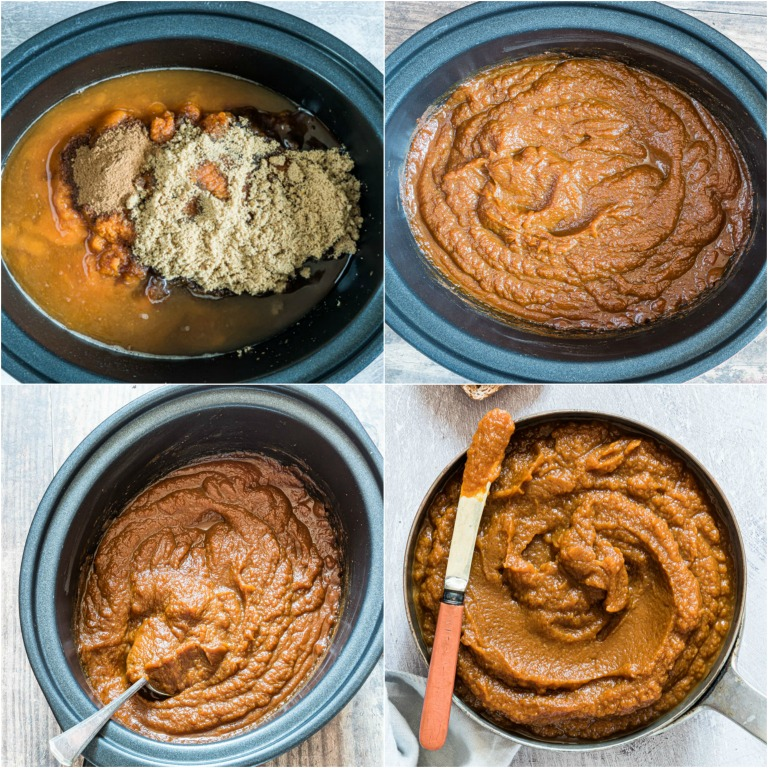 image collage showing the steps for making pumpkin butter in a slow cooker