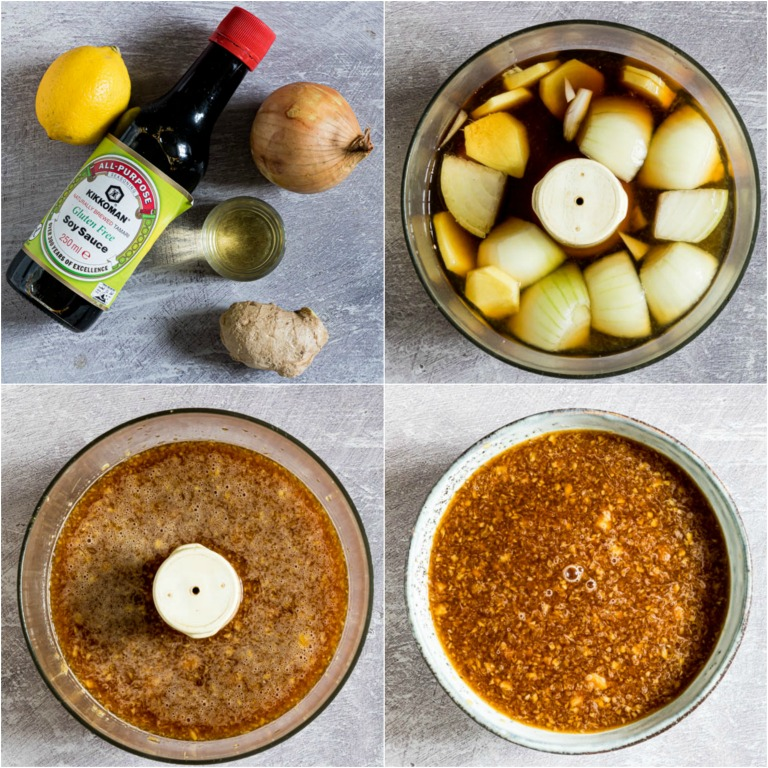 image collage showing the steps for making ginger sauce