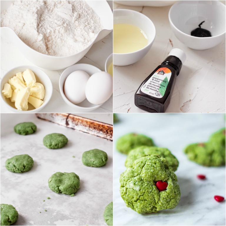 image collage showing the steps for making Grinch cookies