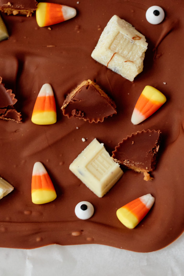 top down view of halloween candy bark before being broken into pieces