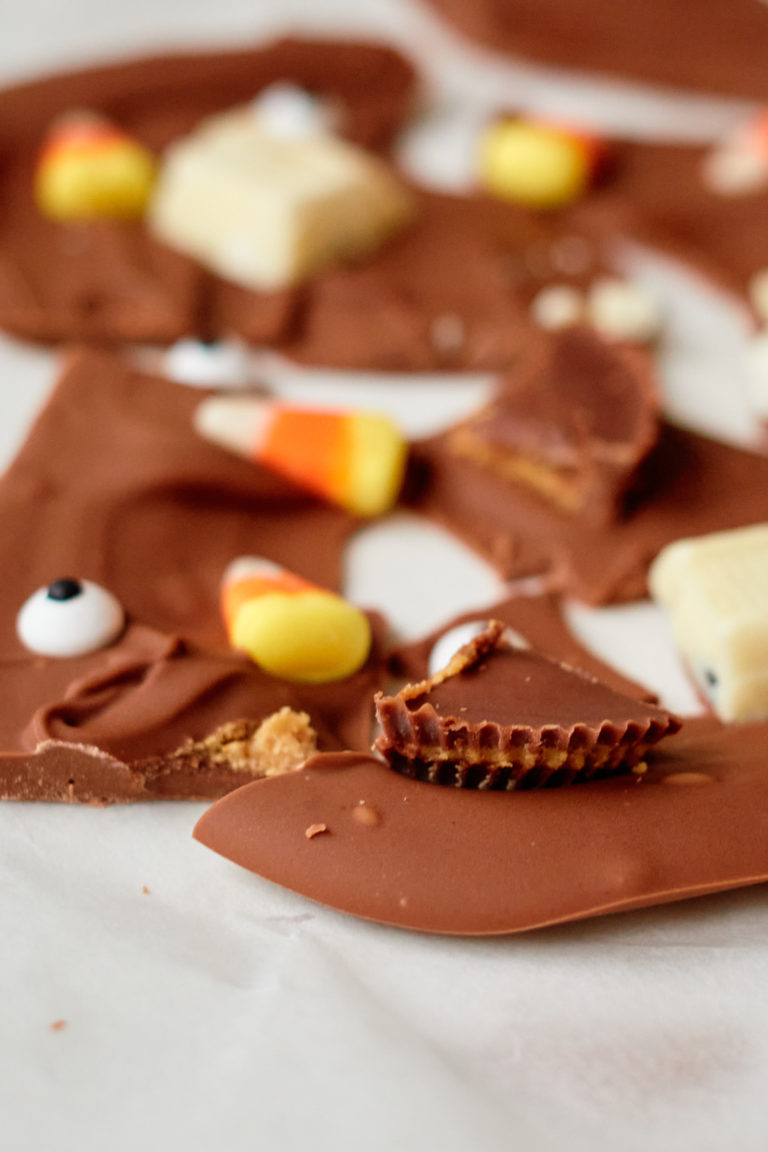 straight on view of the completed chocolate bark after being cracked into pieces