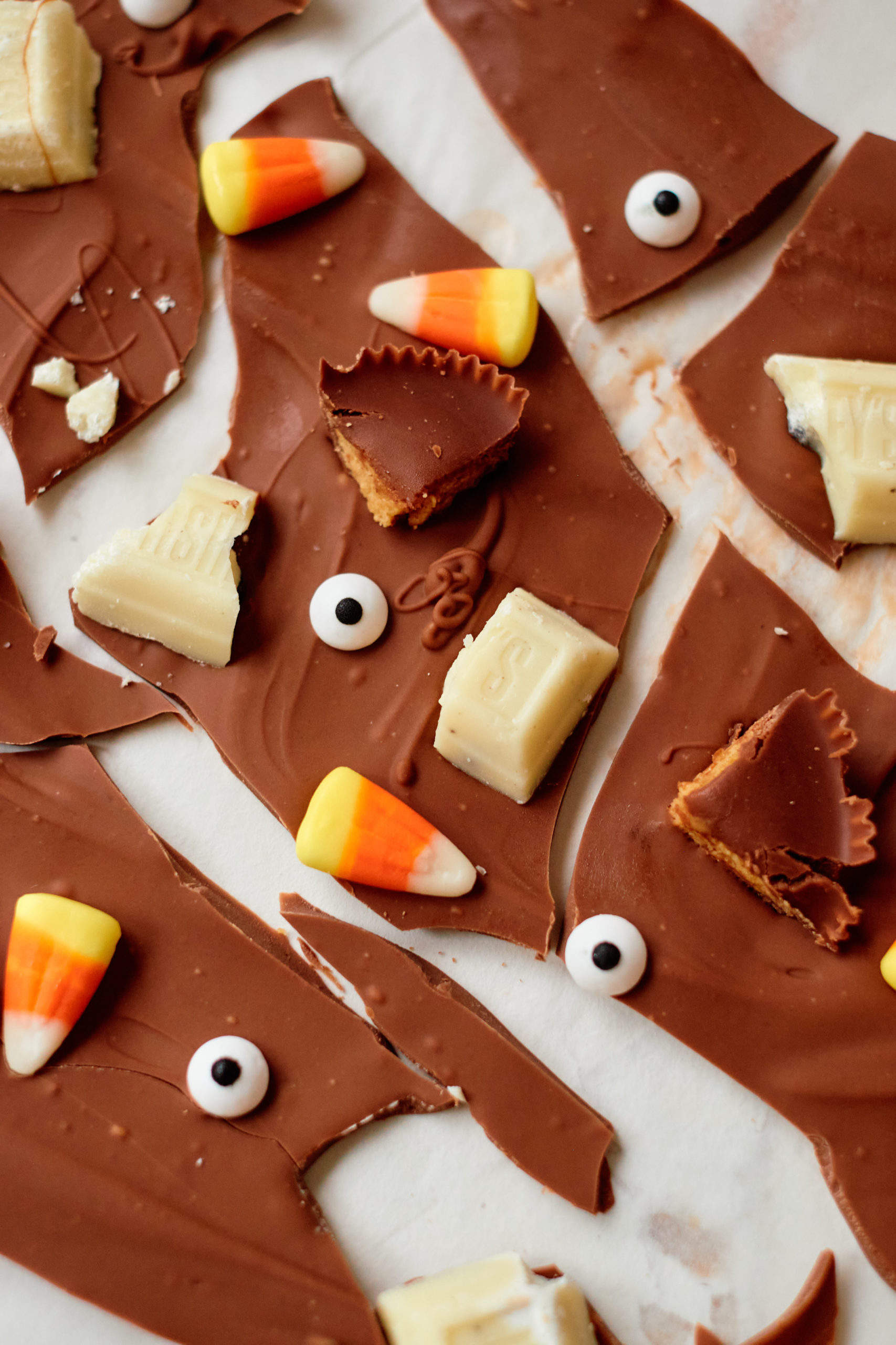 top down view of the completed halloween bark