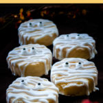 a row of 5 mummy cookies