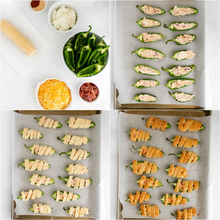 image collage showing the steps for making halloween jalapeno poppers