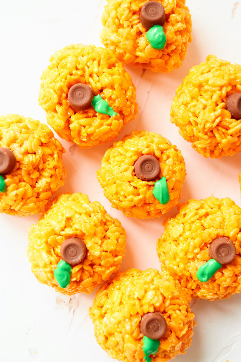 top down view of the completed rice krispie pumpkins