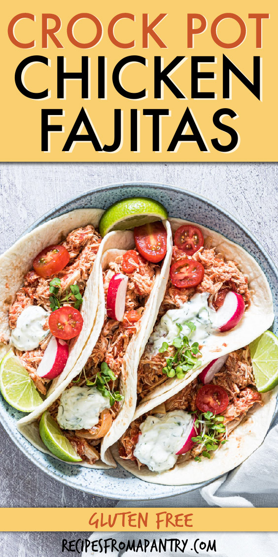 top down view of four chicken fajitas in tortillas on a round plate
