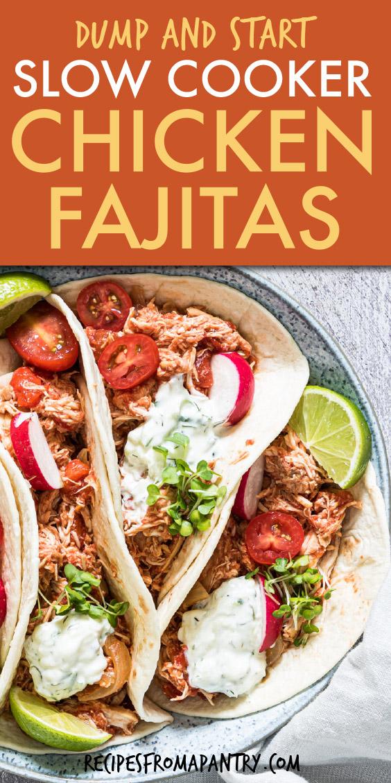 chicken fajitas in tortillas on a round plate